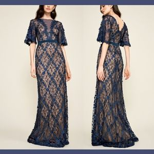 NEW $588 Tadashi Coriander Embroidered Tulle Gown